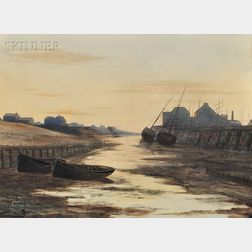 Lionel Walden (American, 1861-1933)      Boats at Low Tide, Dusk.