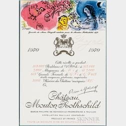 Chagall, Marc (1887-1985) Signed Chateau Mouton Rothschild Wine Label, 1970.