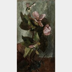John La Farge (American, 1835-1910)      Quince Blossoms with Tree Trunk