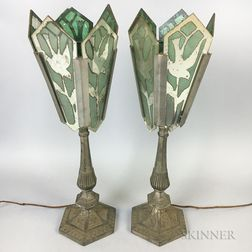 "Pair of Reverse-painted Glass ""Dove"" Lamps"