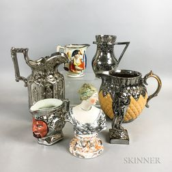 Seven Silver Lustre Ceramic Items