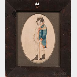 American School, c. 1790      Miniature Portrait of an American Militia Officer