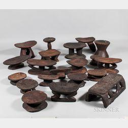Twenty African Wood Stools