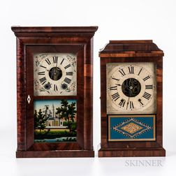 Two Kirk's Cast Iron Backplate Shelf Clocks