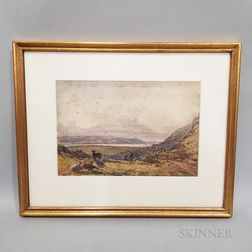 Framed English School Watercolor Landscape with Cattle