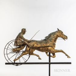 Molded and Gilded Sheet Copper Horse and Sulky Weathervane