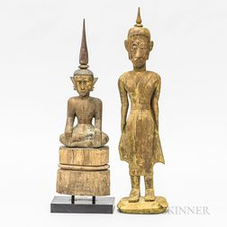 Two Laotian Polychrome Buddhas
