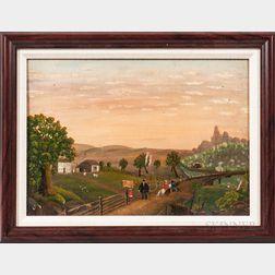 American School, 19th Century      Figures in a Rural Landscape
