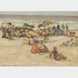 Charles Herbert Woodbury (American, 1864-1940)    Beach Crowd