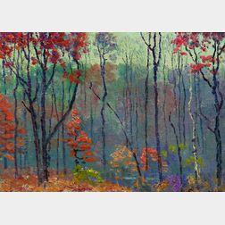John Joseph Enneking (American, 1841-1916)      The Lone Birch