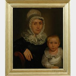 Attributed to Deacon Robert Peckham (Massachusetts, 1785-1877)      Portrait of a Mother and Child.