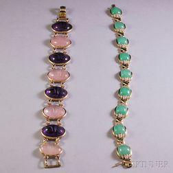 Two 14kt Gold Gem-set Bracelets