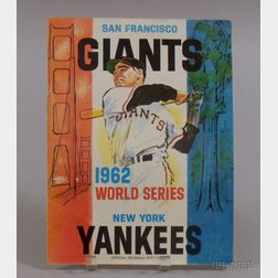 1962 World Series San Francisco Giants vs. New York Yankees Program