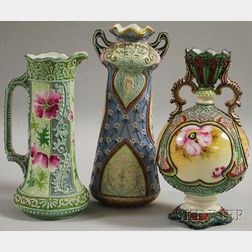 Two Japanese Moriage Ware Porcelain Vases and a Pitcher
