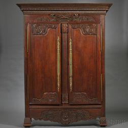 Louis XV/XVI-style Provincial Oak Armoire
