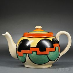 Clarice Cliff Castellated Circle   Bachelor Teapot and Cover