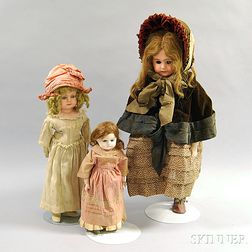 Three Papier-mache Shoulder Head Girl Dolls