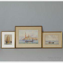 F. Fulin (Italian, 20th Century)      Three Views of Venice: Il Redentore ,  Gondola