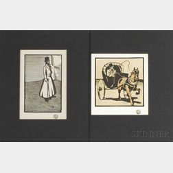 William Nicholson (British, 1872-1949)      Two Works Published in The Studio  :   The Cabriolet