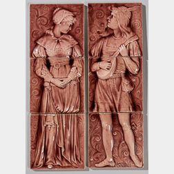 Two American Encaustic Tile Co. Three-part Pottery Tile Panels of a Man and Woman