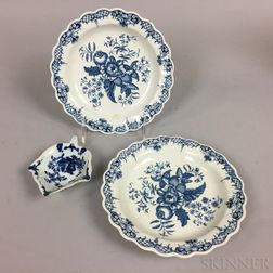 Three Worcester Blue and White Porcelain Dishes