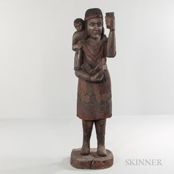 Carved Tobacconist Indian Maiden Figure with Child