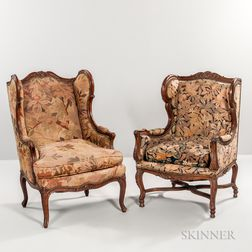 Two Verdure Tapestry-upholstered Wing Chairs