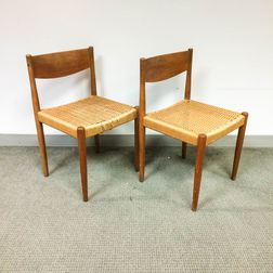 Two Woven-seat Teak Side Chairs