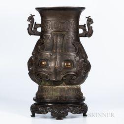 Archaic Inlaid Bronze Hu   Vessel