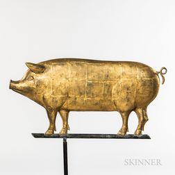 Gilded Molded Sheet Copper Pig Weathervane