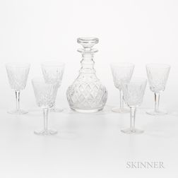 Set of Six Waterford Crystal Wines and an English Decanter with Stopper