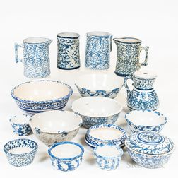 Seventeen Pieces of Blue and White Spongeware