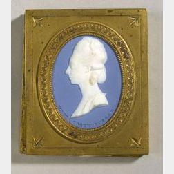 Wedgwood Solid Blue Jasper Portrait Medallion of Honora Edgeworth