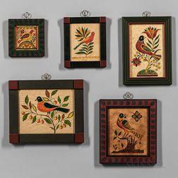 Five Framed David Ellinger Folk Bird Watercolors