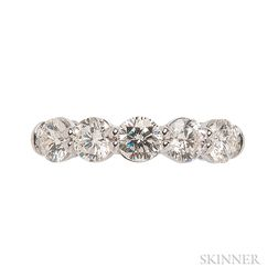 18kt White Gold and Diamond Five-stone Ring