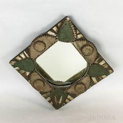 Tramp Art Polychrome Mirror