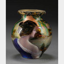 Dorval Enameled Art Nouveau Vase