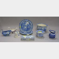 Ten Assorted Staffordshire and Staffordshire-type Transfer Decorated Items