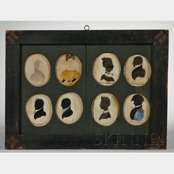 Framed Group of Six Silhouettes and Two Portrait Miniatures