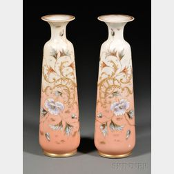 Pair of Hand-painted Opaline Glass Vases