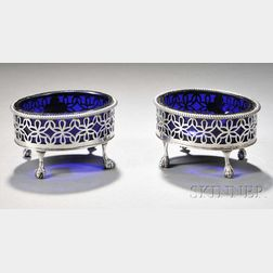 Pair of Silver Salts Cellars with Glass Liners
