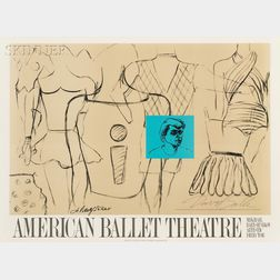 David Salle (American, b. 1952)      American Ballet Theatre Poster, Autographed by Mikhail Baryshnikov and David Salle