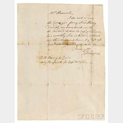 Hancock, John (1737-1793) Autograph Letter Signed, [no place, early January 1776].