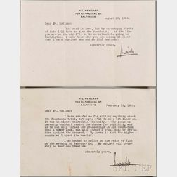Mencken, Henry Louis (1880-1956) Eight Typed Letters Signed and Two Envelopes, 1934-1938.