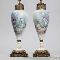 Pair of Metal-mounted Porcelain Lamp Bases