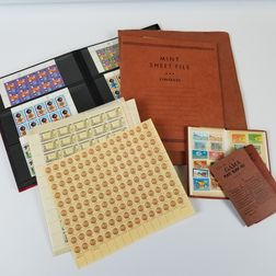 Extensive Group of Modern Stamps, Mint Sheets, Blocks, and Envelopes.     Estimate $100-200