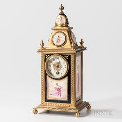 Porcelain-mounted Gilt-bronze Mantel Clock