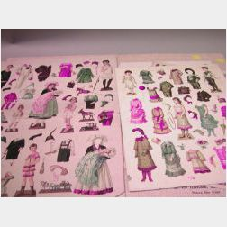Seven Early German Sheets of Paper Dolls