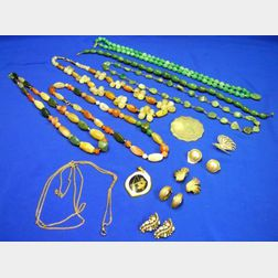 Six Hardstone Beaded Necklaces and Other Jewelry