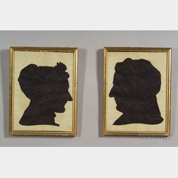 Pair of Silhouette Portraits of a Man and Woman
